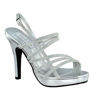 Touch Ups Womens Julie Silver Beaded Sandals Prom and Evening Shoes