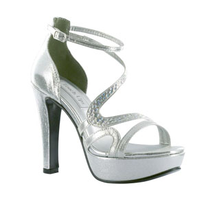 Touch Ups Womens Breeze Silver Metalllic Platforms Prom and Evening Shoes
