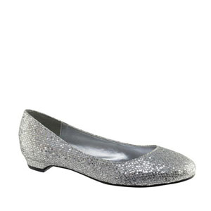 Touch Ups Womens Tamara SilverGlitter Satin Flats Prom and Evening Shoes