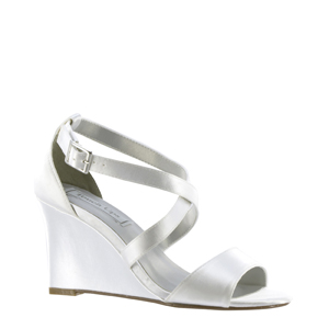 e54d87dbbfd Touch Ups Womens Jenna White Satin Sandals Wedding Shoes