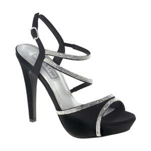Touch Ups Womens Allie Black Satin Sandals Wedding Shoes