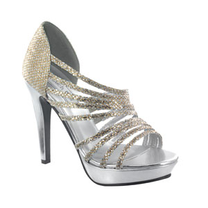 Touch Ups Womens Carey Gold/Siver Glitter Platforms Prom and Evening Shoes