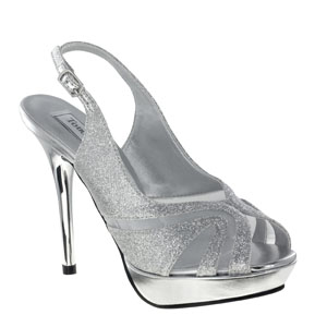 Touch Ups Womens Virginia Silver Glitter Platforms Prom and Evening Shoes