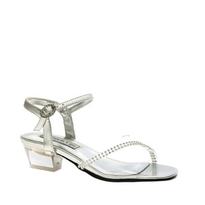 Touch Ups Girls Missy Silver Beaded Sandals Flower Girls Shoes