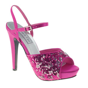 Touch Ups Womens Bev Fuchsia Sequin Sandals Prom and Evening Shoes