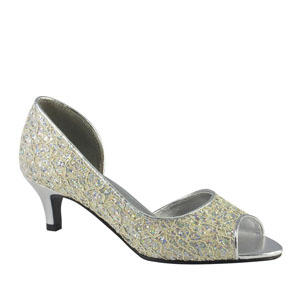 Touch Ups Womens Irene Silver/Ivory Satin Sandals Prom and Evening Shoes