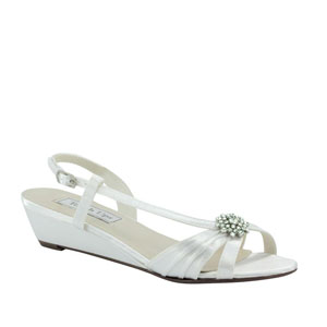 Touch Ups Womens Geri White Satin Sandals Wedding Shoes