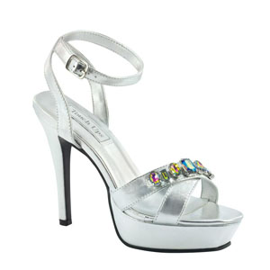 Touch Ups Womens Dale Silver Metalllic Platforms Prom and Evening Shoes