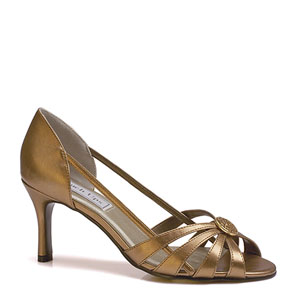 Touch Ups Womens Gemini Bronze Metalllic Peep/Open Toe Prom and Evening Shoes