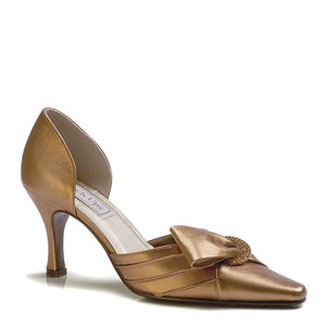 Touch Ups Womens Katrina Bronze Satin Pumps Prom and Evening Shoes