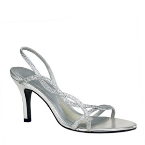 Touch Ups Womens Randi Silver Glitter Sandals Prom and Evening Shoes