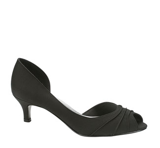 Touch Ups Womens Abby-Black Black Satin Peep/Open Toe Prom and Evening Shoes