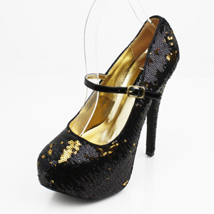 Wild DNA Womens LOLLIPOP-17 BlackSequins Jersey Platforms Prom and Evening Shoes