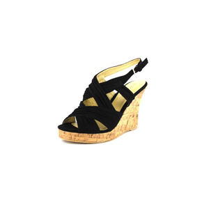Wild Diva Womens MIRNA-114 Black V. Suede Jersey Wedge Casual Shoes