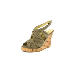 Wild Diva Womens MIRNA-114 Taupe V. Suede Jersey Wedge Casual Shoes