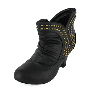 Wild Diva Womens REVA-68 Black PU Jersey Boots Casual Shoes