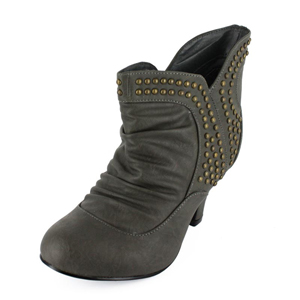 Wild Diva Womens REVA-68 Gray PU Jersey Boots Casual Shoes