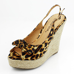 Wild Diva Womens RONAT-05 Leopard Satin Jersey Wedge Casual Shoes